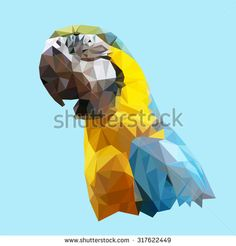 polygonal parrot, geometric polygon bird, isolated vector animal