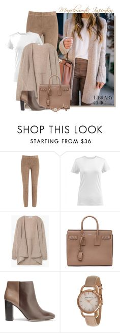 """""""Library Chic:  Monochromatic"""" by fashionista88 ❤ liked on Polyvore featuring Brunello Cucinelli, MANGO, Yves Saint Laurent, Tory Burch and Anne Klein"""