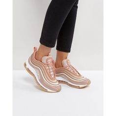 Nike Air Max 97 Ultra Trainers In Rose Gold (£140) ❤ liked on Polyvore featuring shoes, sneakers, gold, lace up shoes, lace up sneakers, lace up high top sneakers, high top shoes and breathable shoes