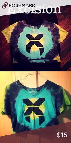 Excision Blue / Green Tie Dye Rave Crop Top EDM NWOT one of a kind loose fitting Tops Crop Tops
