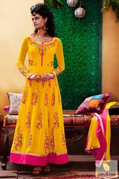 Get the most ultimate ethnic style with this festival special yellow georgette anarkali salwar suit. This suits embellished with resham embroidery and zari work.  #salwarsuit, #salwarkameez, #anarkalisalwarsuit, #wholesalecatalog, #anarkalisuit, #longsalwarsuit, #partywearsuit, #anarkalisalwarkameez, #gown, #dresses, #festivalsalwarsuit, #pavitraa, #festivaloffer http://www.pavitraa.in/store/anarkali-salwar-suit/ Call Us : 917698234040