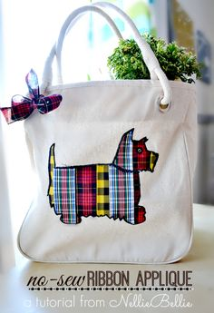Simple Steps to a ribbon tote bag - no sewing - cute DIY craft project idea - you can use any design outline that you want.