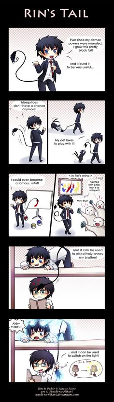 The many uses of Rin's tail! That last panel though. Oh Yukio. #blueexorcist #aonoexorcist