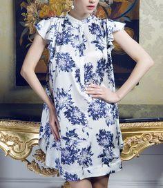 Blue Flowers Small Standup Collar Silk Dress-zeniche.com SKU aa0242