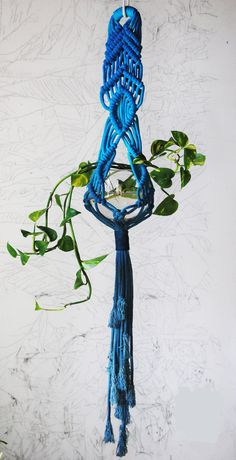 Handmade and dyed macrame plant hanger.  approx. 5 wide, planter approx 60 at its longest point, holds a 5 round pot or vase.    does not