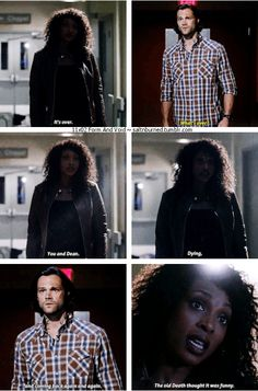 """11x02 Form and Void [gifset] - """"The old death thought it was funny."""" - But now there's one hard, fast rule in this universe. What lives...dies. - Billie, Sam Winchester, Supernatural - (liberties taken to expand one gif into 3)"""
