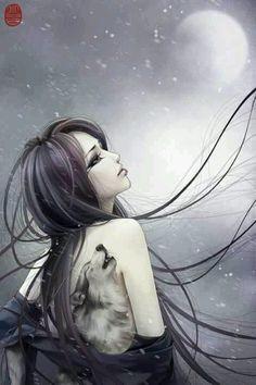 Wolf girl fantasy art