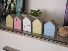 Miniature Concrete Beach Houses Painted Concrete by ConcreteD