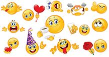 New smileys for Facebook. Send or share emoticons in messages to create big smiley faces!