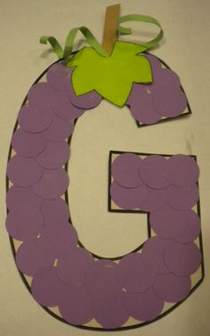 G is for Grapes. THIS WOULD FIT IN NICELY with the  HEALTHY/ UNHEALTHY growing concept for this unit!