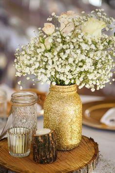 rustic gold glitter mason jar wood stump wedding centerpiece / http://www.deerpearlflowers.com/rustic-budget-friendly-gypsophila-babys-breath-wedding-ideas/3/