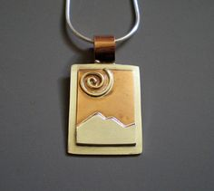 Mixed Metal Jewelry Sacred Peaks  Pendant by EvolveJewelryStudio, $90.00