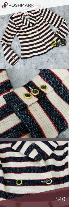 CAbi Cruise Jacket Size 4 Nautical Striped Good used condition... with gold & navy buttons CAbi Jackets & Coats Blazers