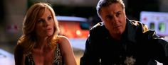 """Catherine, played by Marg Helgenberger, and Grissom, played by William Peterson, in a 2006 episode of """"CSI."""" (CBS/Getty Images)/being canceled after 15 seasons."""