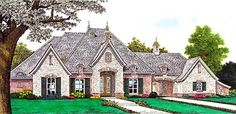 European Style House Plans - 2957 Square Foot Home , 1 Story, 3 Bedroom and 2 Bath, 3 Garage Stalls by Monster House Plans - Plan 8-1194