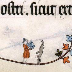 Breakdance bunny. Pontifical of Renaud de Bar, France ca. 1303-1316 (Cambridge, Fitzwilliam Museum, MS 298, fol. 115r)