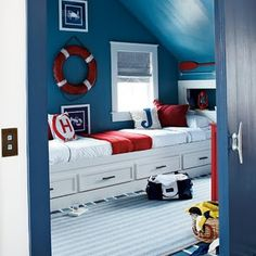 Nautical Boy room with great wall color and white frames for the #art #kids #design