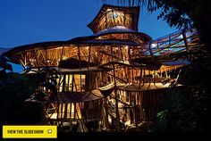 A 6-story, sustainable tree house in Bali made (almost) entirely of bamboo.
