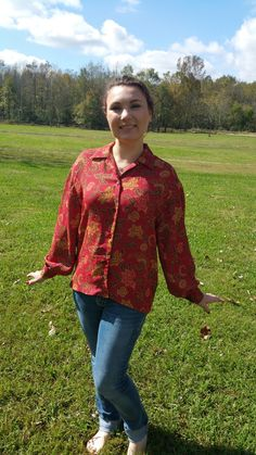 A personal favorite from my Etsy shop https://www.etsy.com/listing/251632876/vintage-red-floral-blouse-great