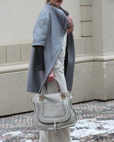 great look with a Chloé Marcie leather tote - Ohhhh Yaaaahhhh Nyc Fashion, Grey Fashion, Fashion Days, Winter Fashion, Womens Fashion, Fashion Trends, Grey Style, Chloe Handbags, Smart Outfit