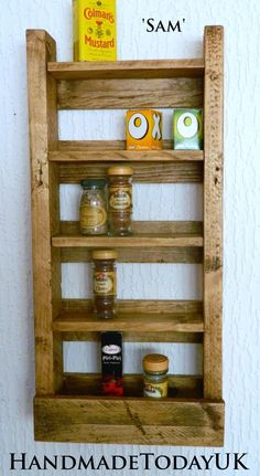 Handmade Rustic Spice Rack Shelf Unit Make Up Organiser made from Reclaimed Pallet Wood