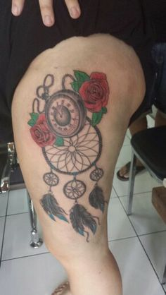 Dream catcher and pocket watch #dreamcatcher #tattoo #flowers #pocketwatch