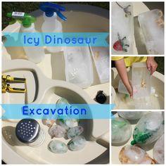 icy dinosaur excavation sensory play | Summer Fun | Backyard Water Fun