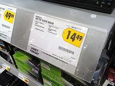 A solitary pushbutton top right reveals the mounting technique for this large shelf edge label strip. Label strips can be… Mounted Shelves, Large Shelves, Wire Shelving, Flexibility, Shelf, Channel, Label, Retail, Button