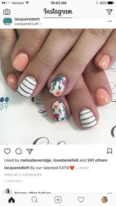 Peach stripes and floral