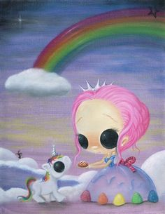 Lowbrow Sugar Fueled Unicorn Love Rainbow Candyland creepy cute big eye art print