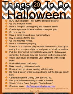 Do something different this year for Halloween! Here's a list of 20 fun things to do for Halloween with friends and family + free printables!