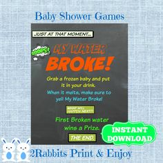 Superhero My Water Broke! Game Sign-Frozen Baby Game-Chalkboard Baby Shower Ice Cube Baby Shower Drink - Shower Drink Game- Instant Download by 2RabbitsPrintEnjoy on Etsy