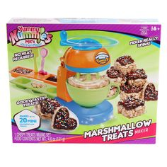 Create gooey, tasty treats with the Yummy Nummies Marshmallow Treats Maker. Mix your ingredients, make different shapes in the included tray, and decorate with fudge frosting and sprinkles. Happy Kitchen, Mini Kitchen, Baby Girl Toys, Toys For Girls, Marshmallow Treats, Candy Dispenser, Kids Makeup, Dog Cakes, Little Girl Gifts