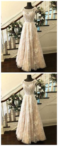 Custom made round neck lace long prom dress, evening dress P0809 #promdress #promdresses #promgown #promgowns #long #prom #modestpromdress #newpromdress #2018fashions #newstyles #champagne