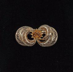 COROCRAFT Gold Filigree and Flower Brooch by KatsCache on Etsy