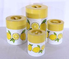 VTG Mid Century Kitchen Canister Set 4 Tin Metal Yellow White Lemons Japan in Collectibles, Kitchen & Home, Kitchenware | eBay