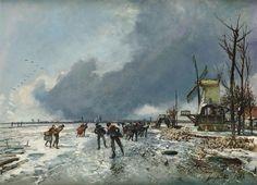 Johan Barthold Jongkind (1819 - 1891), Wintergezicht met schaatsers, 1864, collectie Teylers Museum, aangekocht met steun van de BankGiroLoterij, 2008.