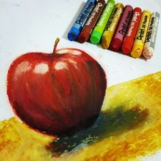 Oil pastels Red Apple #art #oilpastel #sketch #draw #artist #pastel #charcoal #illustration #artwork #pencil #picture #drawing #sketchbook #plate #portrait #チョークアート #pastels #color #beautiful #paint #チョーク #chalkart #oil #パステル #handmade #follow #painting #redapple