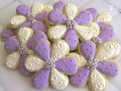 One Dozen Elegant Flower Decorated Sugar Cookies For Wedding, Anniversary, Engagement Party, Shower, Birthday Or Any Special Occasion --- I love the alternating colored petals Mother's Day Cookies, Summer Cookies, Fancy Cookies, Cut Out Cookies, Cute Cookies, Easter Cookies, Birthday Cookies, Cupcake Cookies, Frosted Cookies