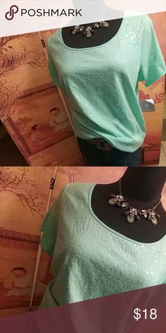 Nwt Minty cute tee New never worn. Add a little glitz to your look. Clear sequin embellishments on the front with a solid back.  Get your cute on girl. Relativity Tops Tees - Short Sleeve