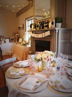 Gorgeous table at a bridal shower party! See more party planning ideas at CatchMyParty.com!