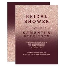 #invitations #wedding #bridalshower - #Rose gold faux glitter burgundy bridal shower card