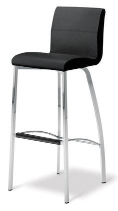 Stella 1 Four Leg Stool Premium Quality Italian Leather Colour Black This Chrome Platingcounter