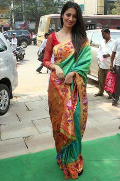 Raai Lakshmi was born in Bangalore, Karnataka, and brought. Indian Actress Photos, South Indian Actress, Indian Actresses, Indian Fashion Designers, Indian Designer Wear, Latest Fashion Dresses, Blouse Neck Designs, Art Silk Sarees, Fancy Sarees