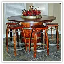 wine barrel table with wine barrel stools