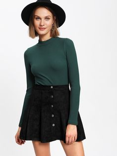 Single Breasted Suede Skirt