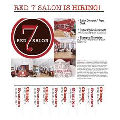 We are HIRING! Salon Directors, Cut/Color Assistants, Shampoo Techs. Interested? Go to our Employment page on our website (http://www.red7salon.com) & send in your info. #top200salon