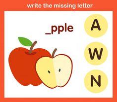 Write the missing letter Premium Vector Missing Letter Worksheets, Spelling Worksheets, Kids Math Worksheets, Alphabet Worksheets, Alphabet Crafts, Tracing Worksheets, English Language Learners, English Grammar, Phonics Flashcards