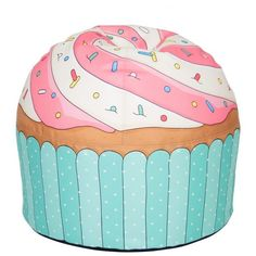 WOOUF! Cupcake Pouf (645 RON) ❤ liked on Polyvore featuring home, furniture, ottomans, home decor, decor, blue, round furniture, round blue ottoman, blue ottoman and round ottoman