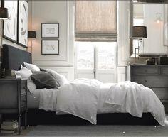 Nice bedroom.  Restoration Hardware, Spencer Zinc Dresser & Nightstand